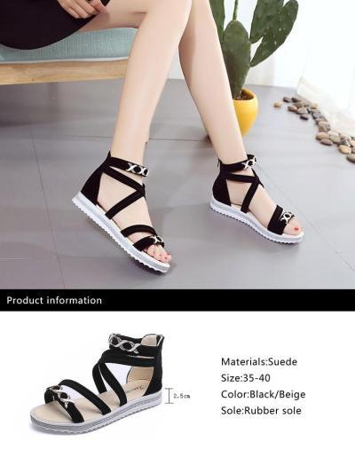 Women Rome Sandals 2020 Summer Flat Shoes Woman Gladiator Style Fashion Platform Sandal Back Zipper Female Student Footwear