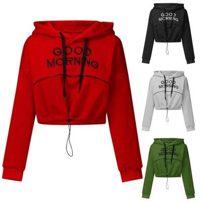 Women Letter Print Hoodies Sweatshirt Autumn Hooded Long Sleeve Pullover Fashion Casual Drawstring Short Sleeve Tops Hip Hop#Y3