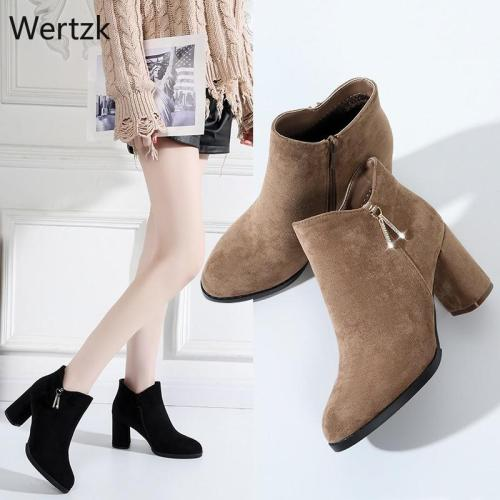 2020 Women Ankle Boots Metal decoration Fashion Ladies Square Heels Flock Shoes Slip-On Ankle Shoes Bota Femenina B228