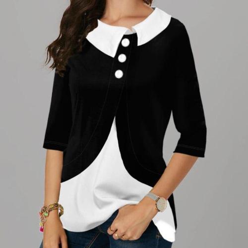 Shirt Blouse 2020 Women New Fashion Turn-down collar Irregularity Splicing  female 3/4  Sleeve head shirt Office clothes
