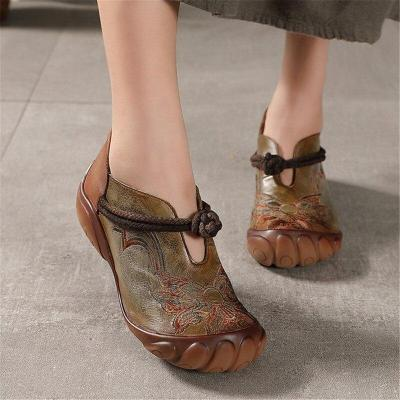 New leather women single hand embroidery shoes national wind restoring ancient ways fashion wedges women's leather shoes