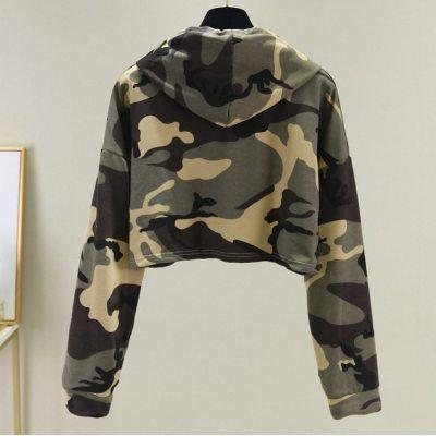 Green Camouflage Fashion Casual Hoodie Women's Long Sleeve Drawstring Sweatshirt Streetwear Short Pullover Tops Sueter#Y3