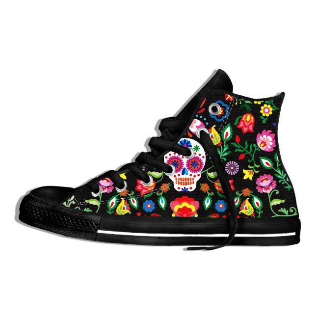 Women 3D Punk/Vintage Skull Head Printing Walking Shoes Women Classic High Top Canvas Shoes Breathable Sneakers Sports Shoes
