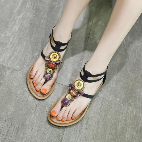 Women shoes 2020 new arrival ethnic string bead sandals women shoes non-slip zipper shoes woman solid color wedges sandals women