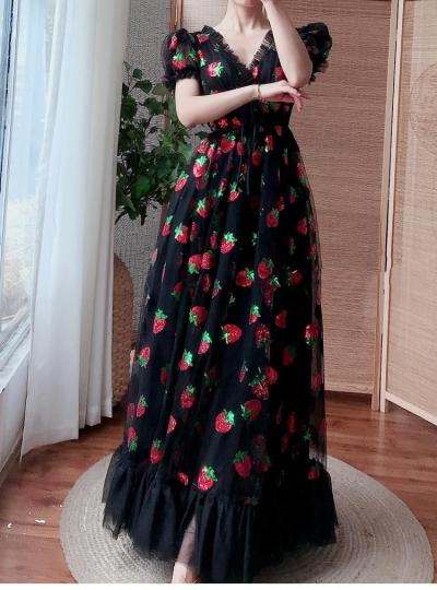 Strawberry Dress Plus Size Women Elegante Long Dresses Black Mesh Sequined Sexy V neck Embroidery Maxi Dress Vestido largo mujer