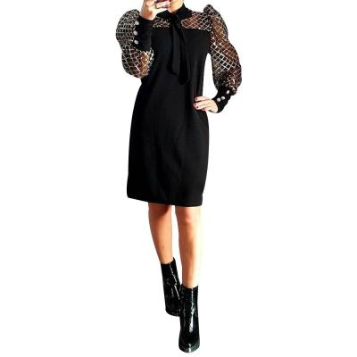 Bow Neck Women Dress Mesh Long Sleeve 2020 Spring See Through Patchwork Female Midi Dress Office Work Wear Lady Dress Robe D30