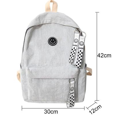 Stripe Female Corduroy Backpack kawaii Women School Bag Smile Teenage Girl Cute Backpack Harajuku Fashion Bags Book Student Lady