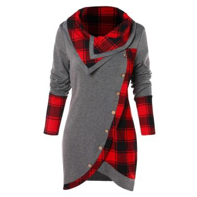 Plaid Patchwork Women Long Sweatshirt Long Sleeve Irregular Hem Button Tartan Tunic Autumn Winter Design Warm Pullover Tops #Y3