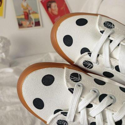 Polka Dot White Canvas Shoes Breathable Women Summer Sneaker Lace Up Ladies Walking Flat Shoe 2021 Fashion Women Flats Shoes