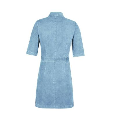 Trendy New Turn Down Collar Denim Dress Women's Plus Size Zipper Casual V Neck Short Sleeve Dress Denim Faux Jean Dress Платье