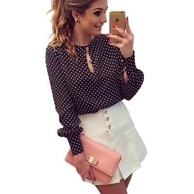 2020 New Arrival Women Tops Casual O-Neck Long Sleeves Blouses Spring Summer Chiffon Polka Dots Shirt