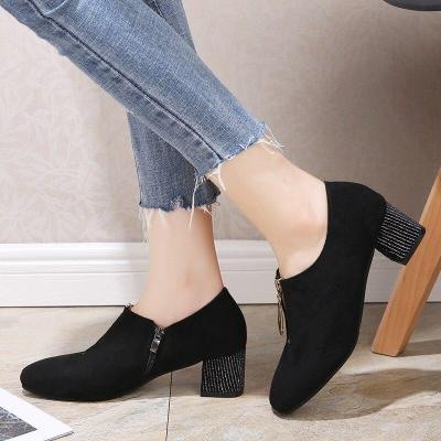 Plus Size Women Bare Boots Front Zip Ankle Boots Silver Heeled Designer Shoes Faux Suede Office Shoes Ladies botas mujer N7852