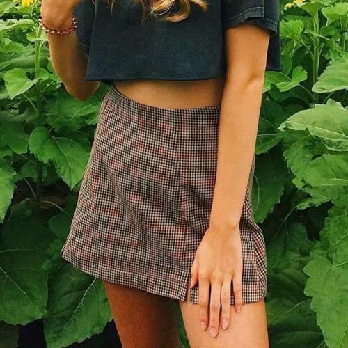 Women checked mini skirt with two small front slits cut cara skirt summer beach vintage skirt chic retro spring short skirt 2020