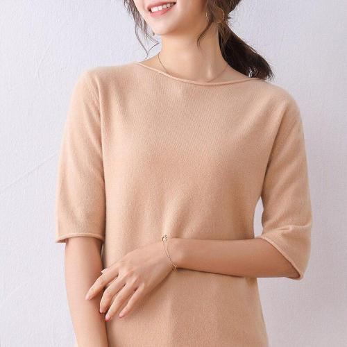 women sweater short sleeves slash neck real wool pullover warm spring outerwear casual fashion jumper top knitting