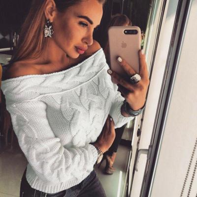 2020 Autumn Winter Women Knitted Off Shoulder Sweater Casual Soft Loose Jumper Fashion Slim Femme Elasticity Pullovers tops