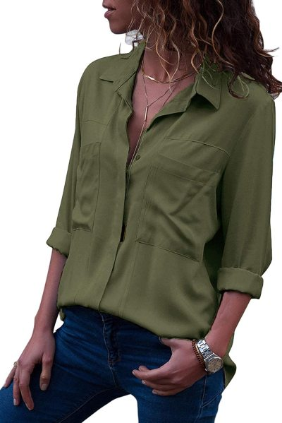 Lannychic Women's Button Down Shirts Roll-up Sleeve Blouse V Neck Casual Tunics Solid Color Tops with Pockets