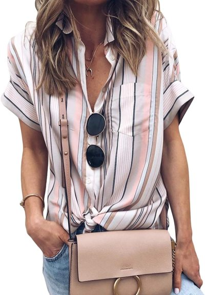 Womens Casual V Neck Striped Cuffed Sleeve Button Down Collar Blouses Shirts