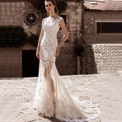 Eightree Mermaid Wedding Dresses Sheer Skirt Removable Vestidos De Novia 2020 Robe De Mariee Detachable Train Bridal Dress