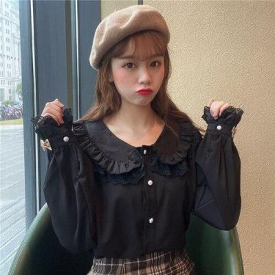 Korean Spring Autumn Sweet Lace Double Peter Pan Collar Flare Long Sleeve Shirts Blouses Women Blusas Fashion Streetwear 2020