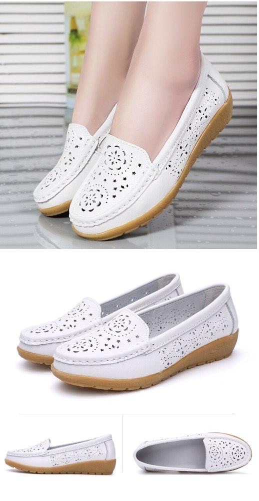 Plardin 2019 Spring women flats shoes women genuine leather shoes woman cutout loafers slip on ballet flats ballerines flat