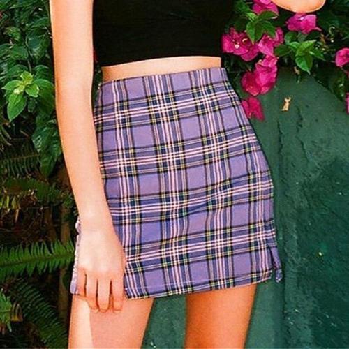 Women checked mini skirt plaid skirt summer beach vintage skirt retro spring short purple skirt girls 2020 new in