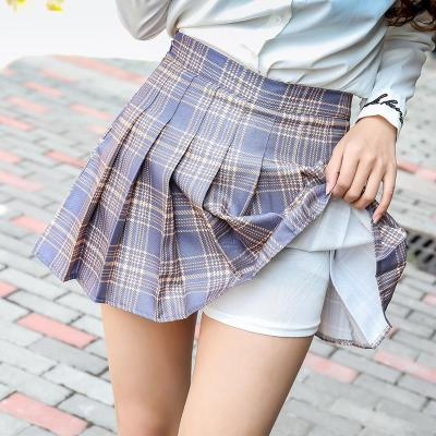 QRWR Summer Women Skirts 2020 New Korean High Waist Plaid Mini Skirt Women School Girls Sexy Cute Pleated Skirt with Zipper