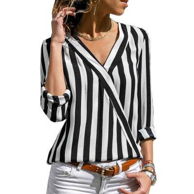 Women Long Sleeve Loose Striped Shirt Sexy V-Neck Blouse Casual Tops Plus Size blusas de moda 2020 Ladies Chiffon Blouses