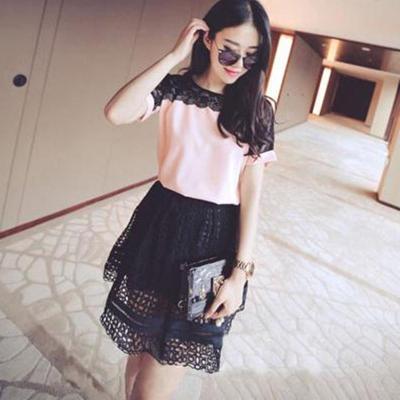 Korean Fashion Chiffon Women Blouses Lace Short Sleeve Pink Women Shirts Plus Size 4XL/5XL Womens Tops Blusas Femininas Elegante