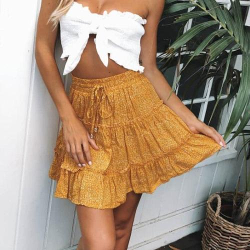 summer bohemian mini skirt High waist women floral skirt 2020  ruffle lace up A-line print skirt leopard print beach skirt new