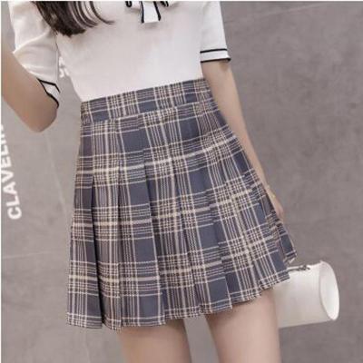 XS-3XL Harajuku 2020 Women Fashion Summer high waist pleated skirt Wind Cosplay plaid skirt kawaii Female Skirts