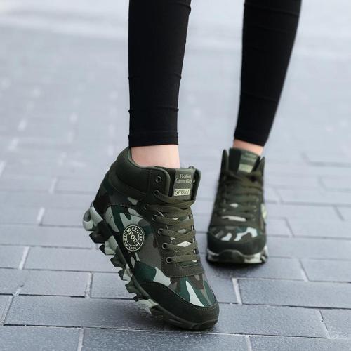 Dropshipping Women Camouflage Sneakers Hide Heel Canvas Casual Shoes Woman Sneaker Women Wedge Shoes XYZ178
