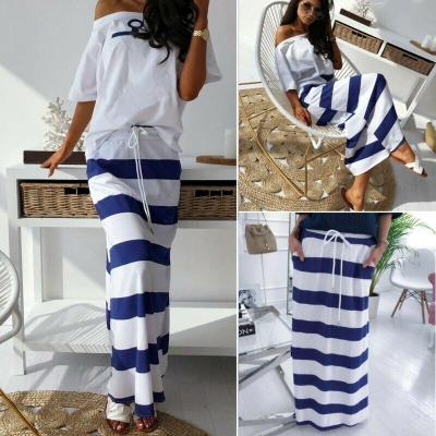 2020 Women High Waisted Loose Casual Striped Bandage Plain Stretch Casual Beach Maxi Skirt NEW