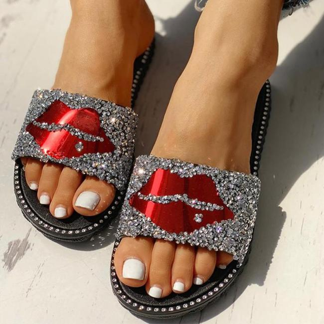 Women Bling Lips Sequined Cloth Summer Slippers Ladies Flat Comfort Casual Beach Shoes Female Slip On Fashion Footwear