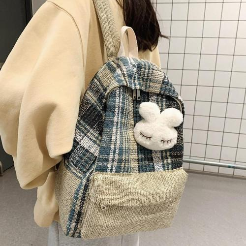 Student Female Linen Backpack Cute Women Fashion School Bag Harajuku Girl Kawaii Backpack Canvas Plaid Lady Bags Book Luxury New