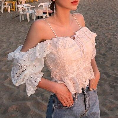 2020 Summer Fashion Streetwear 2 Kinds Wearing Sexy Slash neck Ruffles Lace-Up Lace Blouse Women Blusas Girls Shirt
