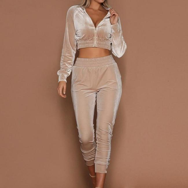 LAAMEI Women Tracksuit Zipper Hoodies Sweatshirt Pants 2 Pieces Set Fashion 2018 Female Cropped Top Pullover And Trousers Suits