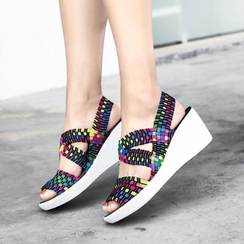 Women's Summer Shoes Hemp Slip On Beautiful Wedge Sandals Woman Peep Toe Hollow Party Sandal Girls 2020 New