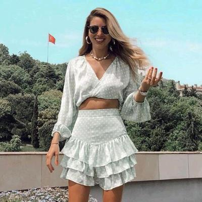 Foridol bohemian polka dot print ruffle women mini skirts high waist summer casual skirts beach holiday vintage green red skirts