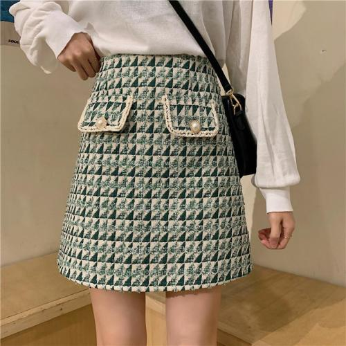 New Tweed Plaid Skirts Women Winter Mini Pencil Skirts Wool Skirts Korean Bodycon High Waist Tweed Skirt Vintage Zipper V925