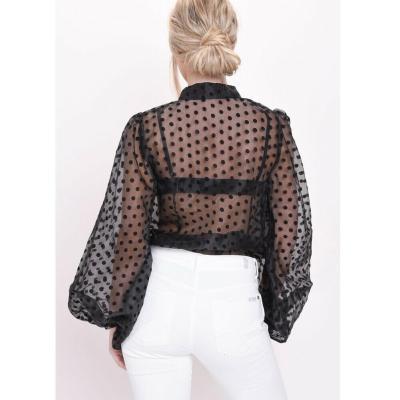 Women Polka Dot Retro Blouse Lady Early Autumn Modern Mesh Shirt Vogue See-through Loose Button  Puff Sleeve Blouse High Street