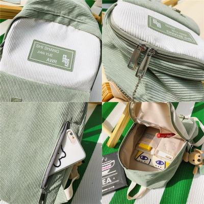 Stripe Female Corduroy Backpack kawaii Women School Bag Girl Luxury Cute Backpack Harajuku Fashion Lady Bag Student Doll pendant
