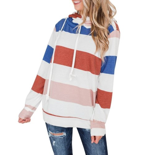 Contrast Stripe Patchwork Loose Hoodie Fashion Long Sleeve Drawstring Hooded Sweatshirt Autumn Thin Pullover Top Streetwear#F