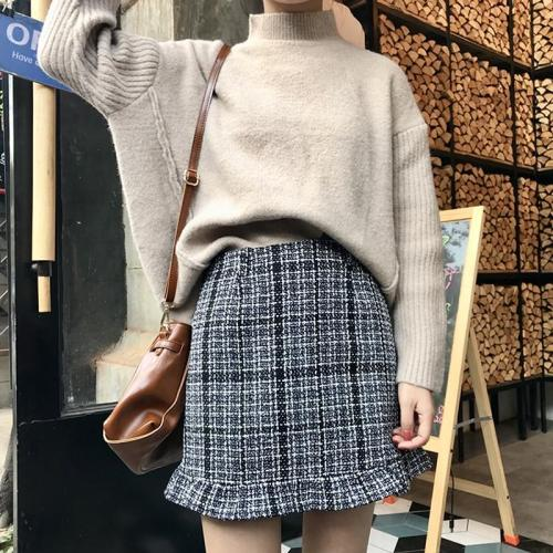 Autumn Tweed Skirts Women Mini Pencil Skirts Plaid Wool Skirts Korean Slim High Waist Elegant Tweed Skirt Lady Ruffle streetwear