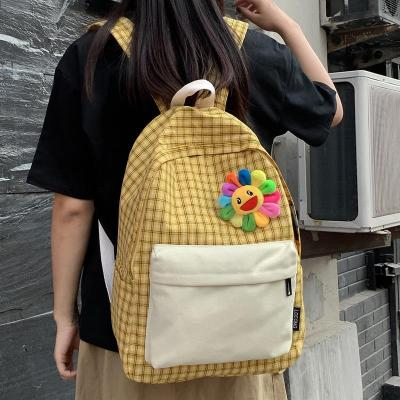 Plaid Canvas women backpack teenage girl cute backpack kawaii Student Applique lady book school bag fashion book bag sun rainbow