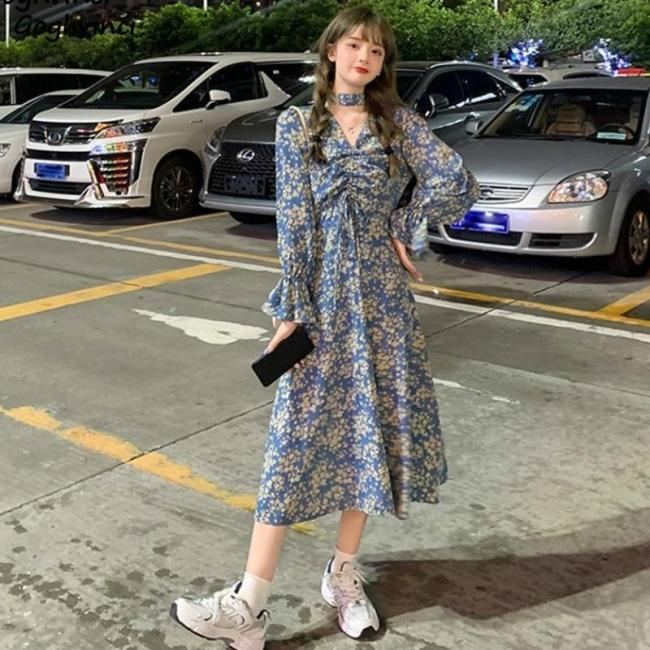 Long Sleeve Dress Women Floral Print V-neck Empire Flare Korena Style Ulzzang Sweet Midi All-match Trendy Casual Plus Size 2XL