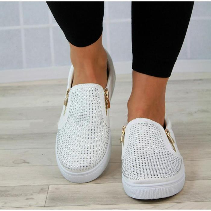 Flat Women's Shoes Mental Zipper Rhinestone Slip-on Ladies Breathable Women Footwear Sturdy Sole Nonslip Casual Shoes Women
