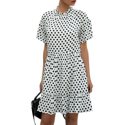 Polka Dot Chiffon Women Dress Summer Casual Beach Short Sleeve White Black Yellow Sundress 2020 Fashion Lady Boho Mini Dress D30
