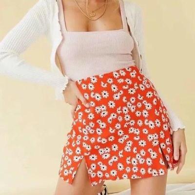Foridol high waist daisy print boho mini slit skirt women chic streetwear orange A-line skirt floral bohemian skirt faldas mujer
