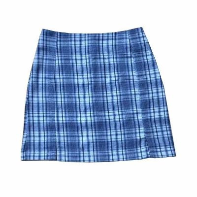 Foriol plaid vintage mini skirt women sexy slit cara blue skirt bottoms female high waist checker streetwear bodycon skirt falda
