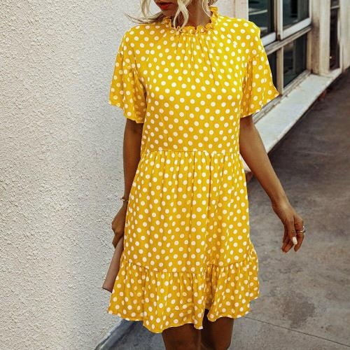 Polka Dot Chiffon Women Dress Summer Casual Beach Short Sleeve White Black Yellow Sundress 2020 Fashion Lady Boho Mini Dress D30